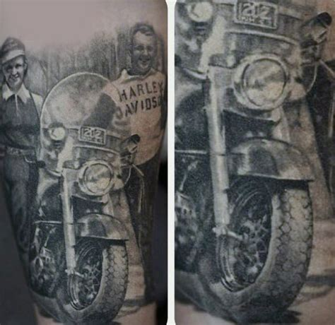 Motorrad Pin Up Tattoo by 90 Harley Davidson Tattoos For Men Manly Motorcycle Designs