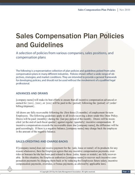 9 Sales Commission Policy Sles Templates Sle Templates Sales Compensation Plan Template