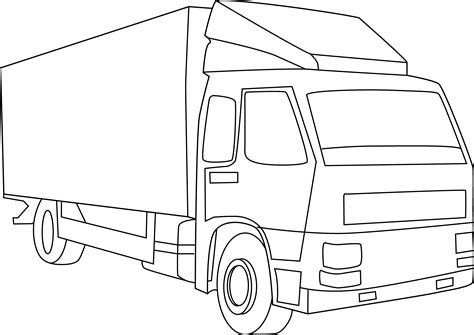 coloring page delivery truck cargo truck line art free clip art
