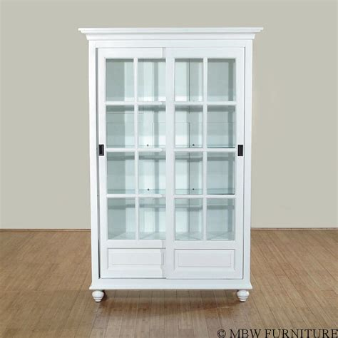 Hutch With Glass Doors Solid Wood White Finish Sliding Glass Curio Hutch China Cabinet Ebay