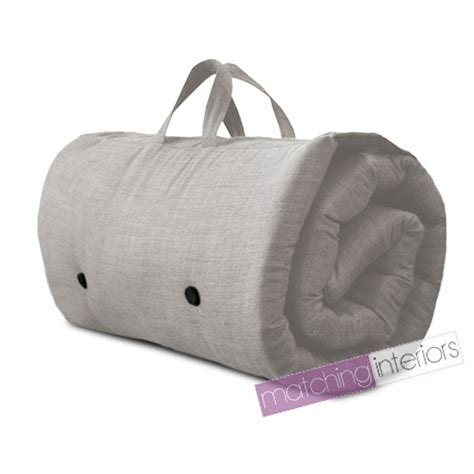 futon roll grey travel guest sleepover single mattress roll up futon