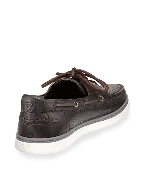 zegna shoes ermenegildo zegna leather boat shoe in brown for lyst