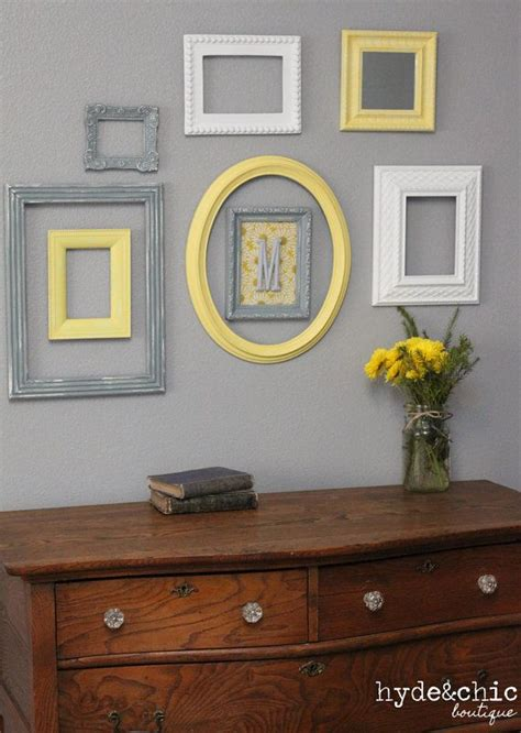 gray and yellow home decor baby nursery decor wall letter monogram frame yellow