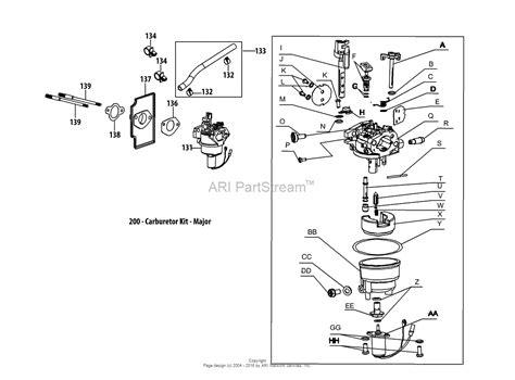 mtd lawn mower carburetor diagram mtd 13w2775s031 lt4200 2013 parts diagram for 4p90jub