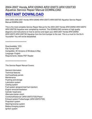 small engine repair manuals free download 2004 honda s2000 auto manual 2004 2007 honda arx1200n3 arx1200t3 arx1200t3d aquatrax service repair manual download by