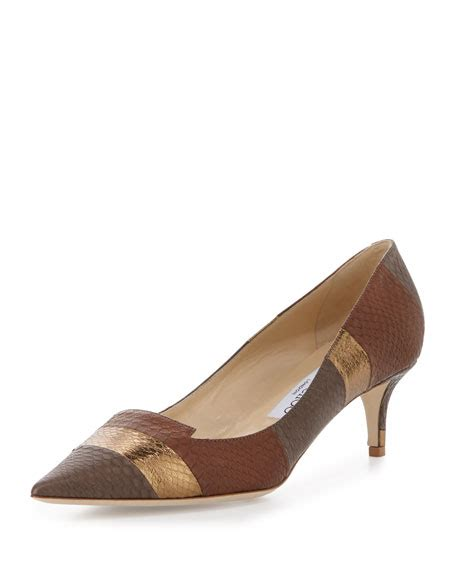 patterned kitten heels jimmy choo allure striped snakeskin kitten heel pump