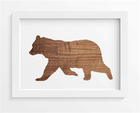 bear home decor rustic wood bear print bear wall art rustic home decor