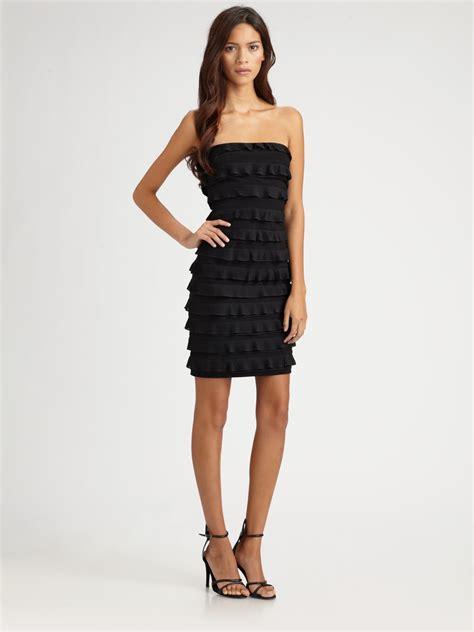 Dress Twena lyst elizabeth and vivienne silk chiffon ruffled strapless dress in black