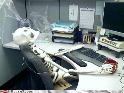 Skeleton At Desk overtime
