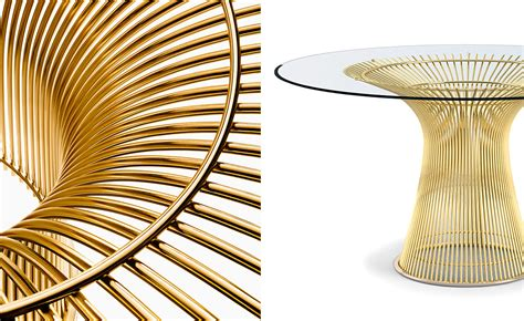 warren platner dining platner gold plated dining table hivemodern com
