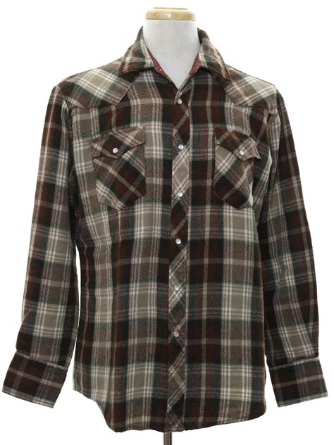 Bj 476 Plaid Brown Blouse 1980 s western shirt bj r 80s bj r mens