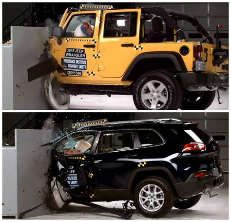small jeep cherokee 2015 jeep wrangler gets good iihs small overlap crash