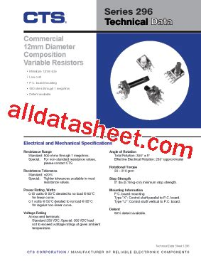 variable resistor connection datasheet 296 datasheet pdf cts corporation