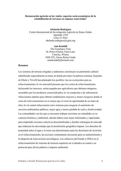 (PDF) Restauración agrícola en los Andes: aspectos socio