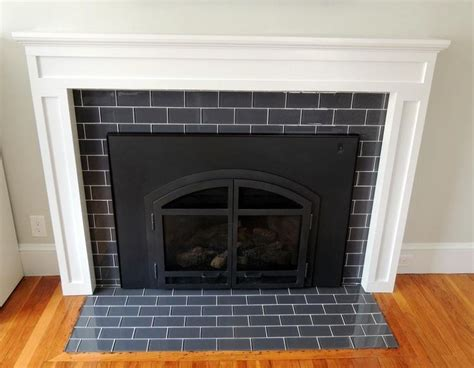 Glass Mosaic Fireplace Surround by Fireplace With Glass Tile Surround Cabin