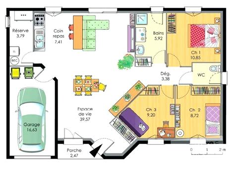 Plan Maison 100m2 Plein Pied 4115 by Plan De Maison De 100m2 Plein Pied Ventana