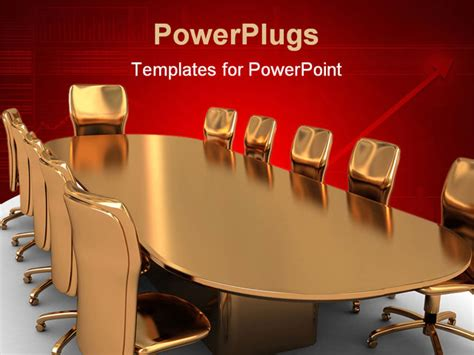 meeting powerpoint template abstract 3d illustratin of golden table and chairs
