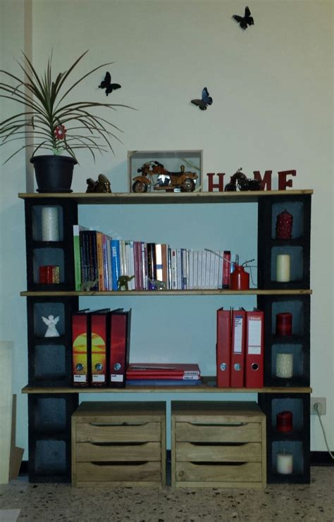 my 1st handmade bookshelf cinder blocks wood the