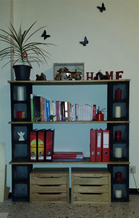 my 1st handmade bookshelf cinder blocks wood the