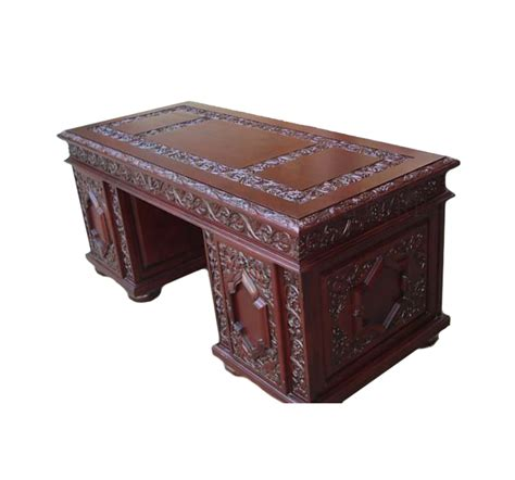 Ornate Executive Desk by Cherry Ornate Heavily Carved Executive Office Desk