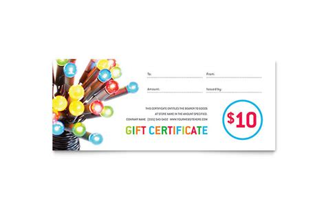 graphic design gift card template lights gift certificate template design