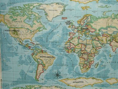 world map upholstery fabric prestigious atlas world map azure designer cotton curtain