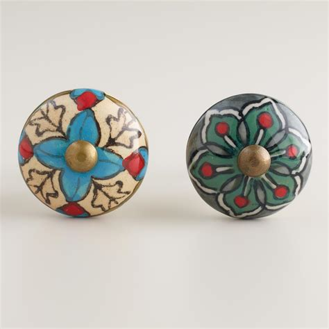 world market dresser handles green and ivory geometric ceramic knobs set of 2 world