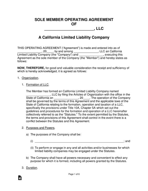 California Single Member Llc Operating Agreement Form Eforms Free Fillable Forms California Llc Operating Agreement Template