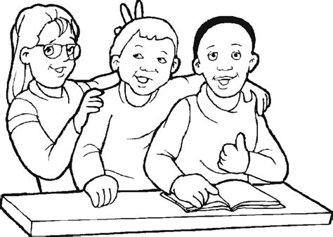 Children At School Coloring Child Coloring School Coloring Pages