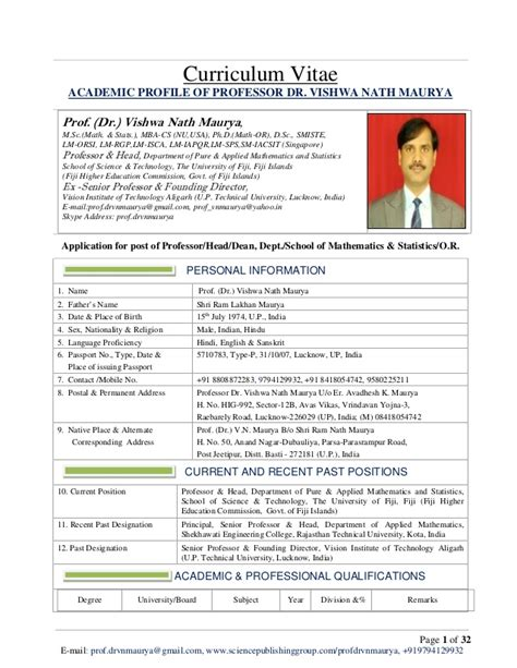 Resume Cv Professor Cv Of Prof Dr Vishwa Nath Maurya For Post Of Professor