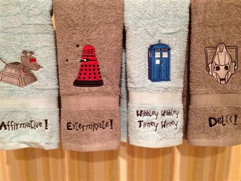 custom embroidered doctor who bathroom towel on etsy