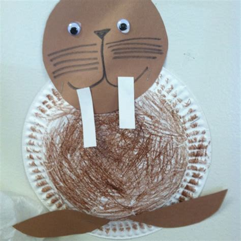 Walrus Paper Plate Craft - walrus crafts