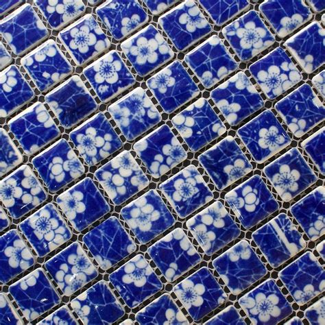 blue mosaic tile porcelain mosaic white and blue tile snowflake patterns