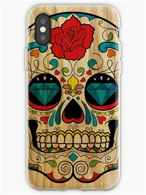 wood sugar skull iphone cases covers  gold target redbubble