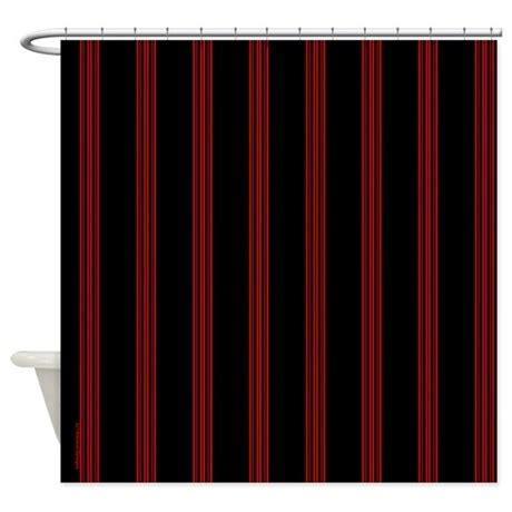 red and black curtain red and black pinstripe shower curtain by rainbowhot