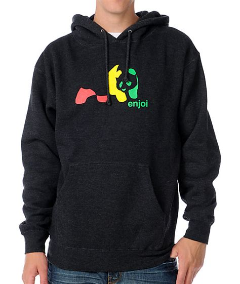Hoodiesweatshirt Enjoi Panda enjoi rasta panda mens charcoal pullover hoodie zumiez