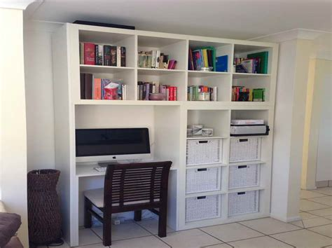 furniture computer desk bookshelf with white floor