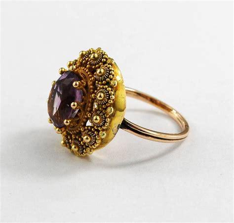 georgian antique gold amethyst ring cannetille circa