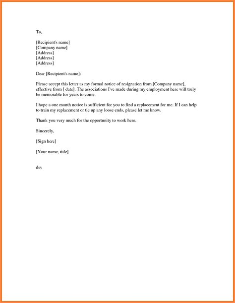 Notice Cover Letter 6 Resignation Letter Sle One Month Notice Notice Letter