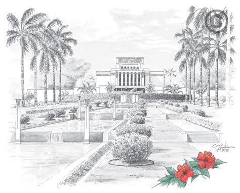 Home Interior Nativity Laie Hawaii Temple Sketch In Temple Ldsbookstore Com