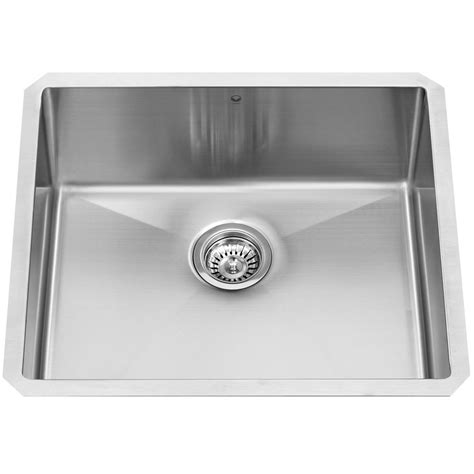 Stainless Steel Undermount Kitchen Sinks Single Bowl Vigo Undermount Stainless Steel 23 In Single Bowl Kitchen Sink Vgr2320c The Home Depot