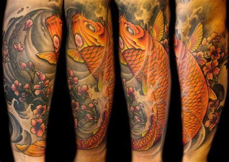 tattoo ikan koi colour full coy fish color arm tattoos tattoos mathew clarke