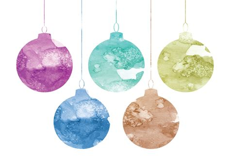 vector watercolor christmas ornaments download free