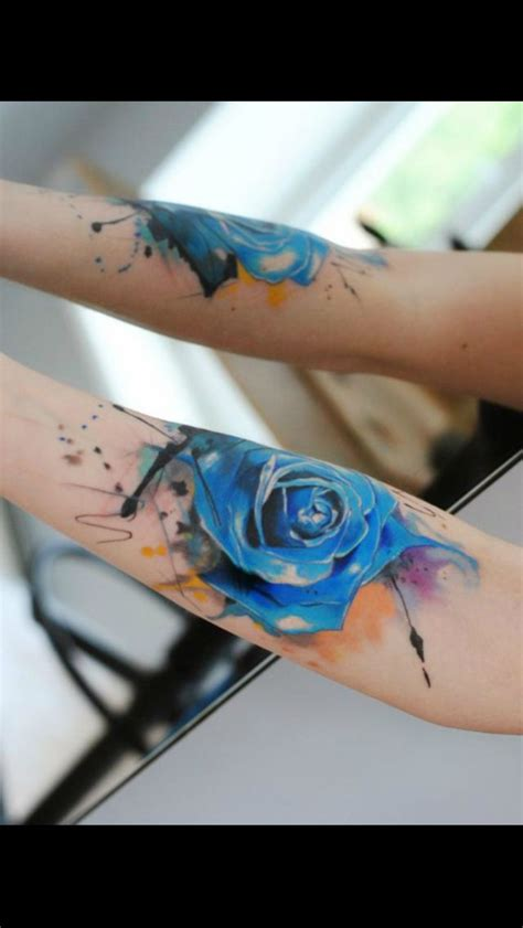 blue rose tattoo and piercing blue watercolor looovveee