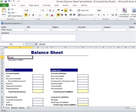 balance sheet template xls simple balance sheet template for excel