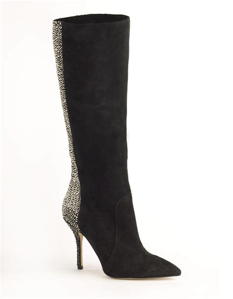 enzo angiolini preety black suede embellished boots in