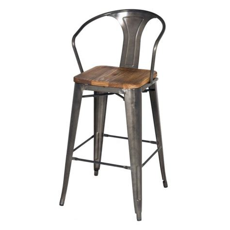 Metal And Wood Bar Stool Steel Barstool With Wood Seat City Home Portland Or