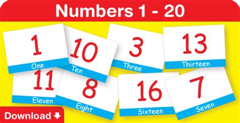 printable numbers 1 20 flashcards printable number flashcards 1 20 with pictures colors