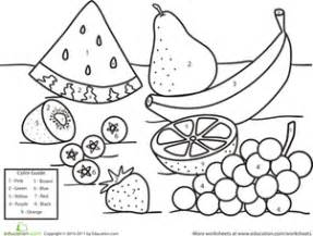 color by number fruit worksheet education com