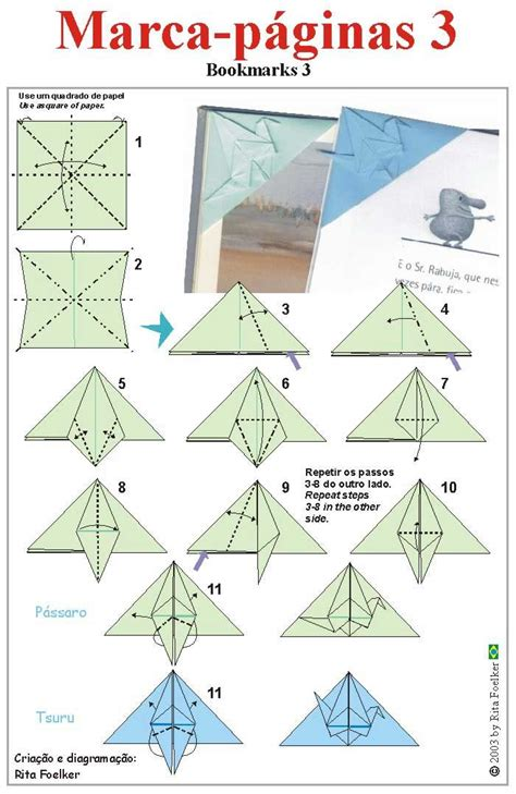 Origami Crane Diagram - origami diagram marcapaginas3 cover the corner